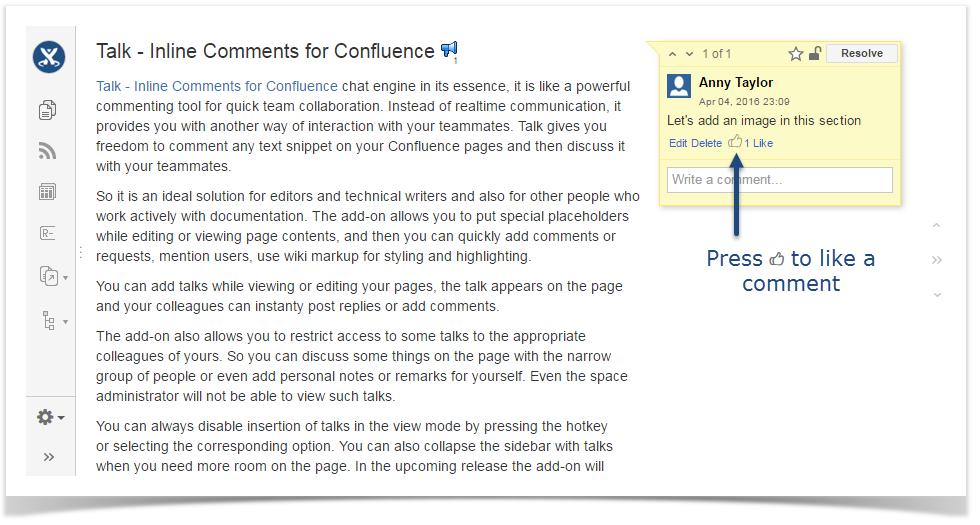 e84ba6feffc Likes - Talk Add-on for Confluence - StiltSoft Docs