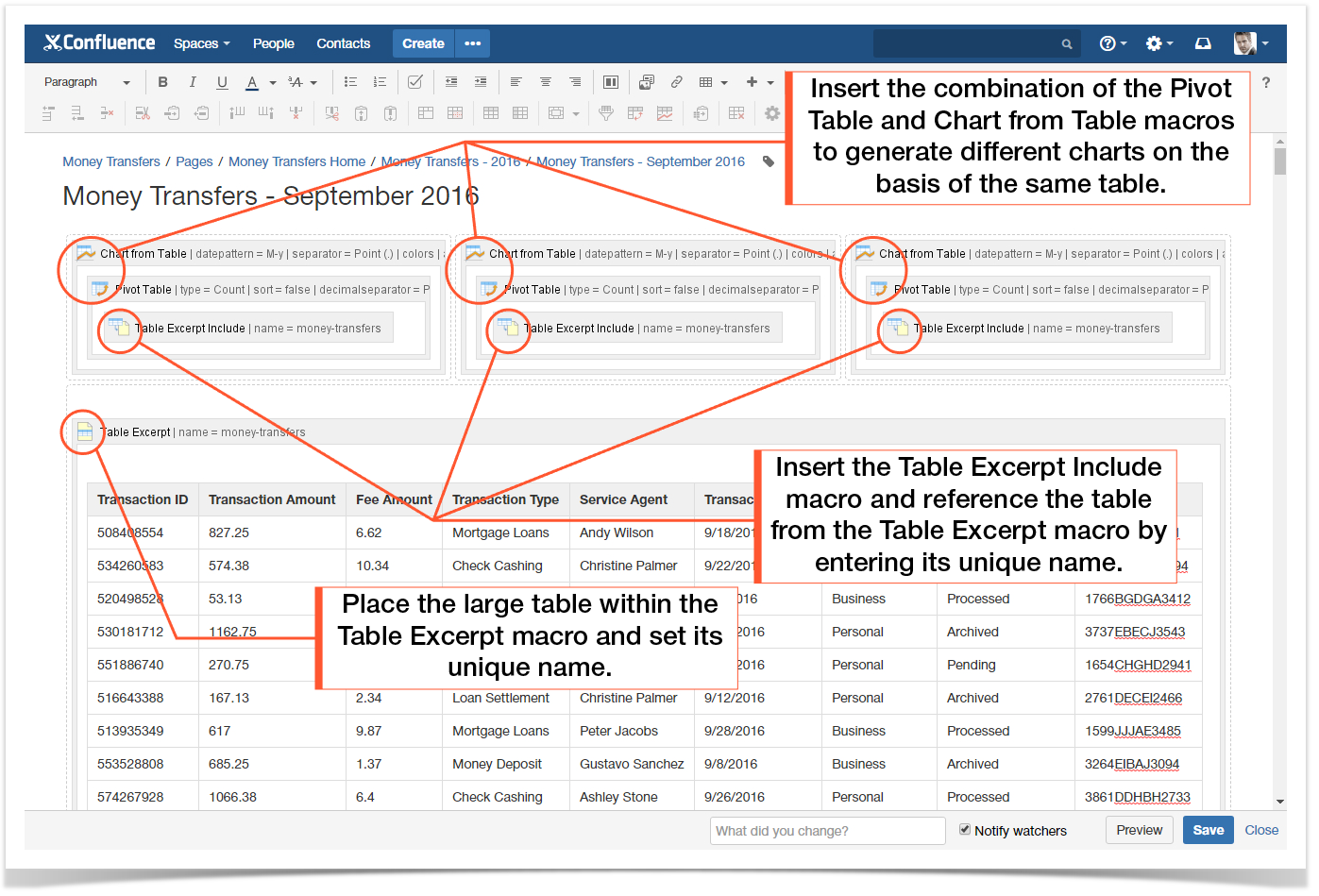 How to use table excerpt and table excerpt include macros table as the result you will receive multiple charts generated on the basis of the same data table gamestrikefo Image collections