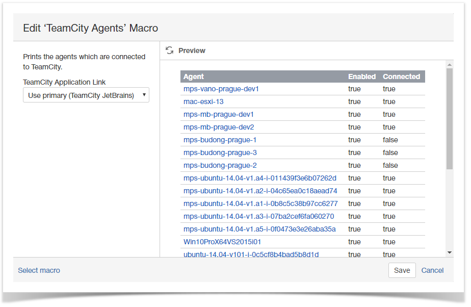 Inserting TeamCity Agents macro - StiltSoft Docs - TeamCity