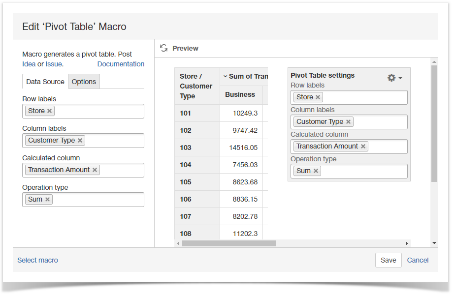 How to use Pivot table macro - StiltSoft Docs - Table Filter and