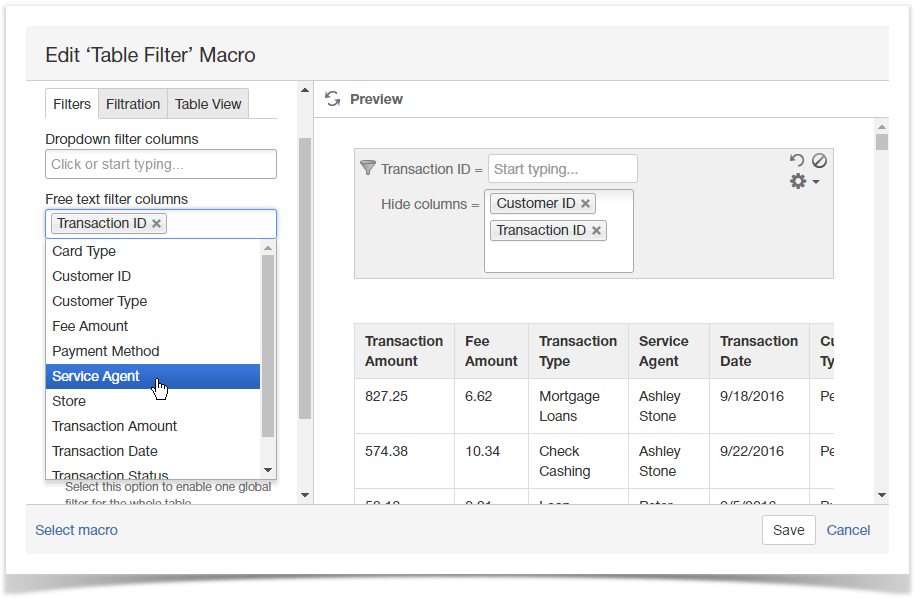 Managing Free Text Filters - StiltSoft Docs - Table Filter and